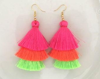Neon Ombre Silk Tassel Earrings, Boho Summer Earrings, Long Neon Earrings, Bohemian Tassle Earrings, Party Earrings, Trendy, Festival ,Party