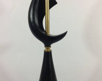 Mid Century Modern Black Cast Metal and Gold Tone Moon Shape Lamp, MCM, Vintage, Retro Lamps