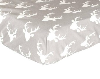 Woodland Buck in Gray | Fitted Crib Sheet