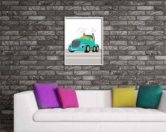 Home decor painting . jpg printable digital poster instant download , car,decoration , graphics ,  kids, automobile truck
