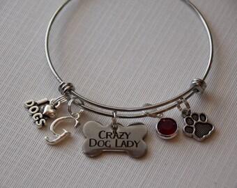 Crazy Dog Lady Bracelet, dog lover gift, gift for dog lover, pet owner gift, fur mom gift, pet bracelet, gift for pet lover