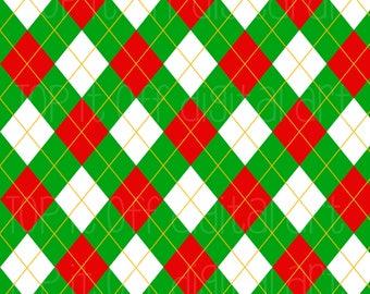 Christmas Green Argyle - Green Red Argyle - Digital Argyle - 300 DPI- 300 DPI JPEG-Digital Scrapbook - Scrapbooking - Christmas Argyle