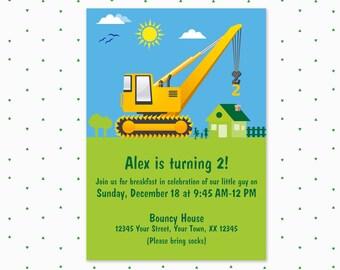 2nd birthday invitation / kids birthday invitation / construction theme / trucks / boys birthday invitation / printable