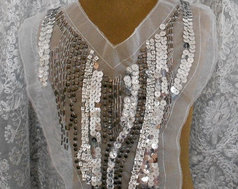 Silver Beaded Sequined Appliques