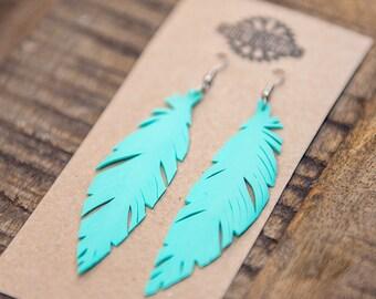 Turquoise Earrings, Boho Earrings, Vegan Feather Earrings,  Handcrafted bicycle Inner tube with Surgical Steel Hooks
