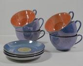 9 Piece Antique Lusterware Tea Coffee Cups & Saucers Replacements Bavaria Japan Porcelain Blue Peach Hand Paint China Mid Century Assortment