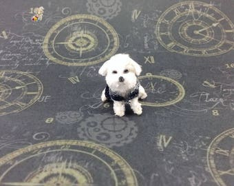 Miniature Maltese Dog Doll, Amigurumi, Crochet Dog Dollhouse Made to Order