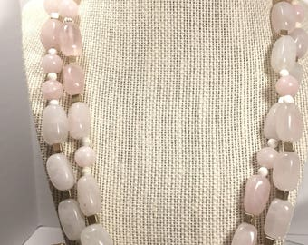 Chunky Rose Quartz Two-Tone Double Wrap Necklace