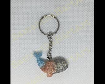 Whale keychain- grey/ pink/ blue