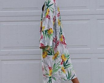 Beach cover, Bikini cover, Summer wear, Long kimono cardigan, Printed Rayon kimono cardigan, Kimono beach, Boho kimono, Resort Style
