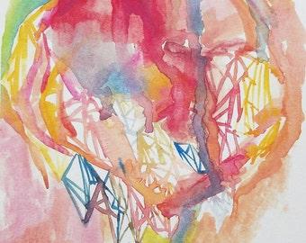 Pink coral cobalt PRINT 8x10 geometric watercolor