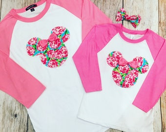 Minnie Mouse Baseball Raglan Pink Sleeve T-Shirts Tees Disney Family Vacation Trip Matching Shirts First Impressions Fabric
