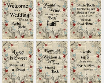 Bundle - Alice in Wonderland Themed Wedding Signs
