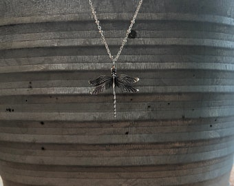 Sterling Silver Dragonfly Necklace // Dragonfly Pendant // Dragonfly Charm