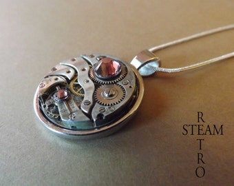 Vintage Rose Steampunk Necklace - Steampunk Jewelry by Steamretro -personalized jewelry - Christmas gift