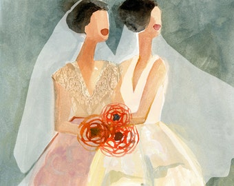 """June Brides - New Yorker cover - 9""""x12"""" print - celebrating gay marriage"""