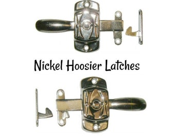 """Nickel Latch - Nickel Plated Brass Hoosier """"H"""" Style Cabinet Latch - Hoosier Cabinet"""