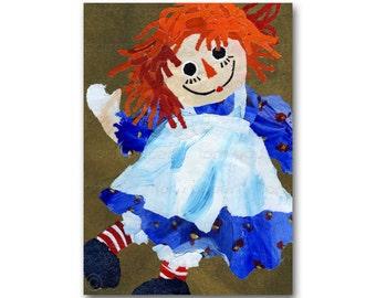 Raggedy Ann - CARD or PRINT with a custom mat - Childhood Memories - Doll Collector - Vintage -1950's Retro Art Card (CMEM2013089)