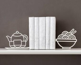 Foodie book ends Kitchen decor Noodle bookends Metal bookends Asian food Ramen Pho Tea Teapot Book shelf Housewarming gift - white