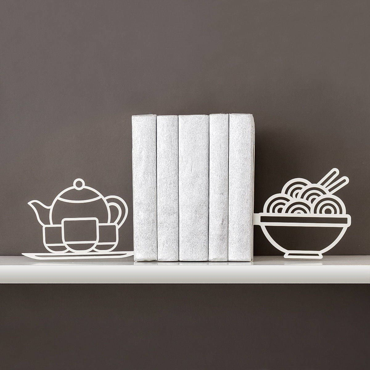 Kitchen Bookends: Foodie Book Ends Kitchen Decor Noodle Bookends Metal Bookends