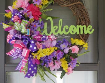 Made to Order Welcome Grapevine Wreath/Summer/Everyday/Front Door Wreath/Hydrangeas/Daisies Wreath/Monogram/Housewarming Gift/Spring Decor