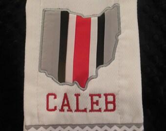 Ohio State Burp cloth/ohio state baby/ohio state burp cloth/OSU burp cloth/OSU baby/OSU football burp cloth