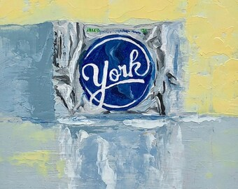 "York Peppermint Patty small still life ORIGINAL oil painting by Karen Barton 6""x6"""