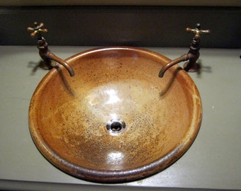 """Handmade Pottery Sink For Your Bathroom Remodeling Project - """"Drop-in"""" Bathroom Sink Design """"With Overflow""""-Made to Order"""