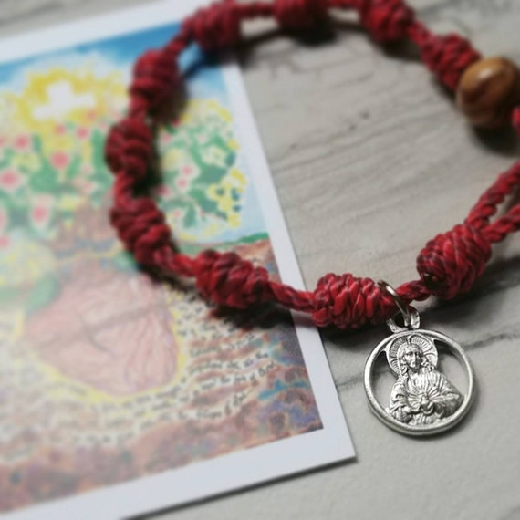 Sacred Heart Rosary Bracelet - with charm