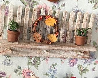 SALE Miniature Wreath, Decorated Grapevine Wreath, Fall Wreath With Leaves, Dollhouse Miniature, 1:12 Scale, Dollhouse Decor, Accessory