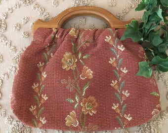 1950's Small Wooden Handled Sewing Bag