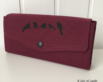 Wallets, big wallets, women's wallets, hand-printed wallets, purses, cherry red wallets, handmade wallets