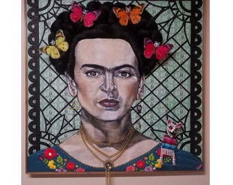 "Frida Kahlo Limited Artist Signed Print Original Artwork ""She Thought She Couldn't But She Did"""
