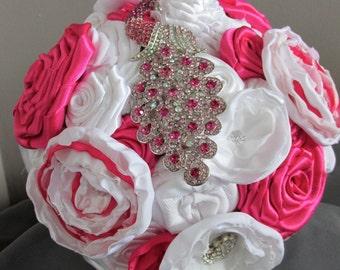 Wedding Bouquet - White/Hot Pink Wedding Bouquet - Fabric Flower Bouquet - Hot Pink Wedding