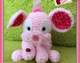 Crochet amigurumi elephant pink