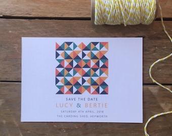 Retro Save the Date Printable Wedding Stationery, Personalised Digital PDF