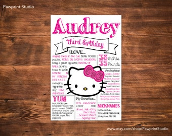 "CUSTOM PRINTABLE Hello Kitty Birthday ""Chalkboard"" Poster (Customizable)"