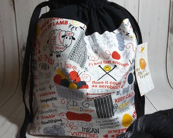 Medium Drawstring Project Bag- Knitting Theme - Knitting- Crochet- Needlearts- Crafting- Artist
