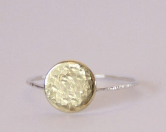 The Brass Chantilly - Fine sterling silver and brass lightly hammered stacking ring