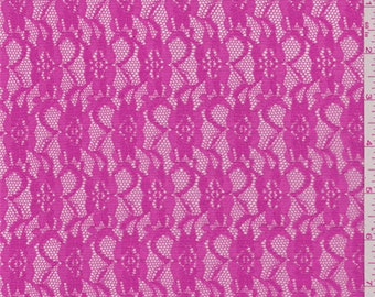 Watermelon Pink Floral Stretch Lace, Fabric By The Yard