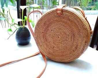 Vintage Round Woven Rattan Bag with Leather Sling Strap