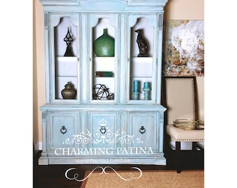 SOLD Blue Drexel Hand Painted China Cabinet / Buffet & Hutch