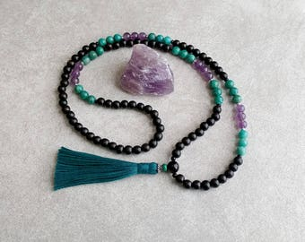 Mala Beads - Amethyst, Russian Amazonite and Onyx - Meditation Necklace - Tassel Necklace - Healing Gift - 108 Bead Mala - Item # 728