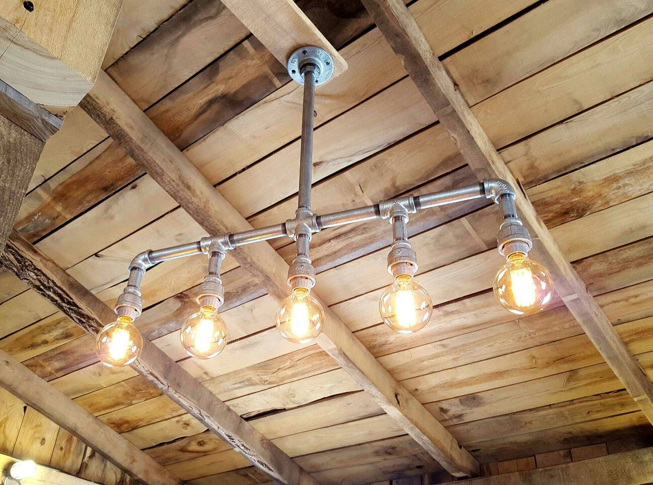 Rustic industrial lighting chandelier galvanized pipe light zoom arubaitofo Image collections