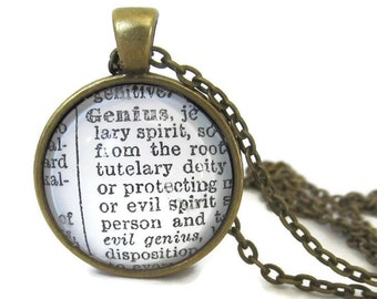 GENIUS Definition Necklace, Definition of Genius Pendant, Graduation Gift, Gift for Student, Dictionary Word Necklace