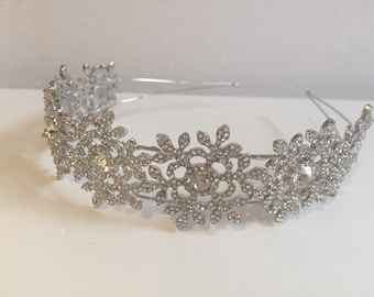 Bridal tiara - snowflake headpiece - Tiara  - wedding headdress - diamante tiara - crystal headband  -winter wedding