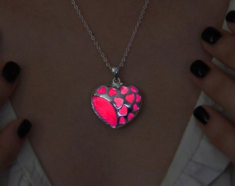 Pink Heart of Hearts Glowing Necklace - Gift For Her - Pink Glowing Pendant - Glow Necklace - Glow in the Dark - Glow Jewelry - Love Heart