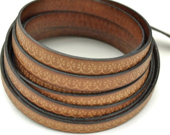 10MM Floral Loop Embossed Leather Cord - Cognac - High Quality Leather Cord - Qty. 2ft/24""