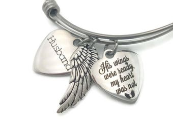 Memorial Jewelry Husband, Sympathy Gift, Memorial Bracelet, His Wings Were Ready, Loss of Husband, Angel Wing, Remembrance Jewelry Husband