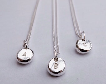 Personalised Initial Necklace // Handmade Letter Pendant // Alphabet Necklace // Pebble Pendant // Gifts For Her // Gifts Under 20